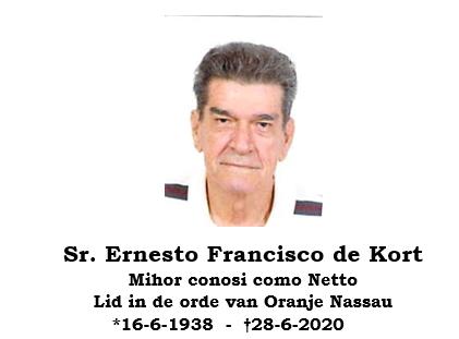 Morto: Sr. Ernesto Francisco de Kort